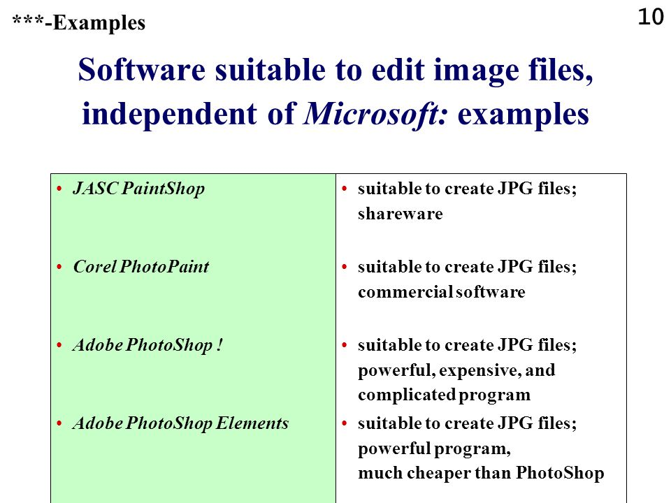 9 Software suitable to edit image files, produced by Microsoft: examples The drawing module that is available to all application programs in the suite Microsoft Office 97, 2000, 2002=XP… The drawing module that is available to all application programs in the suite Microsoft Office XP (2002) Microsoft PhotoEditor (part of Microsoft Office 97) Microsoft PhotoDraw 2000 NOT suitable to create appropriately compressed files saving in PowerPoint XP with Tools | Compress pictures allows appropriate compression suitable to create JPG files, but an obsolete program suitable to create JPG files; easy to use program **--Examples