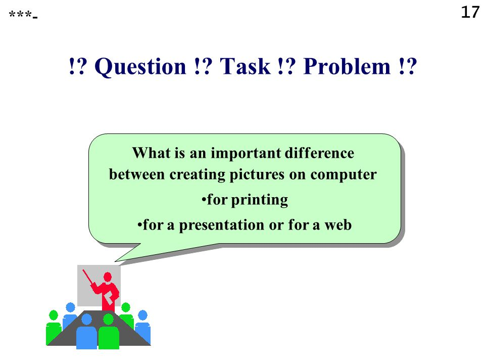 16 Creating pictures on computer for a presentation or web (3) Finally: Insert in a slide or in a web page ***-