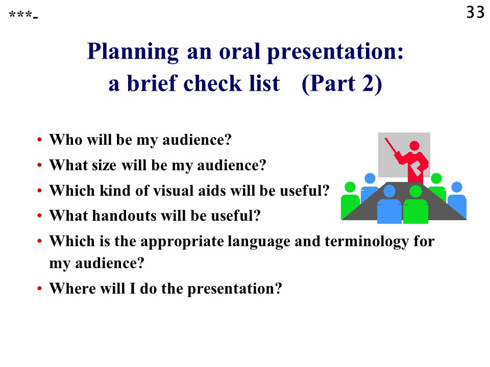 32 Planning an oral presentation: a brief check list (Part 1) What is the aim of the presentation.