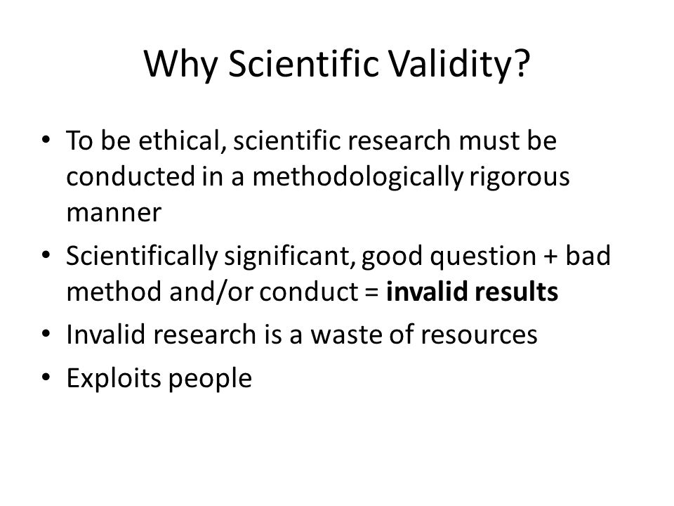 Why Scientific Validity.