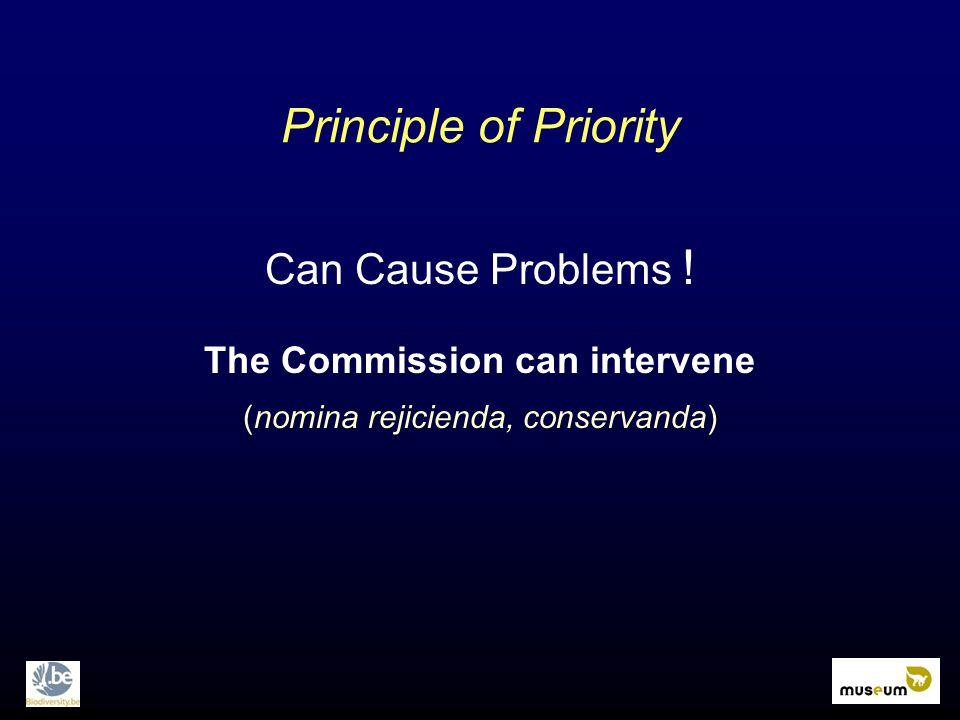 Principle of Priority Can Cause Problems ! The Commission can intervene (nomina rejicienda, conservanda)