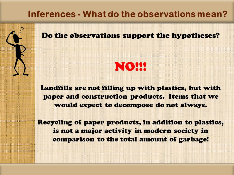 Inferences - What do the observations mean. Do the observations support the hypotheses.