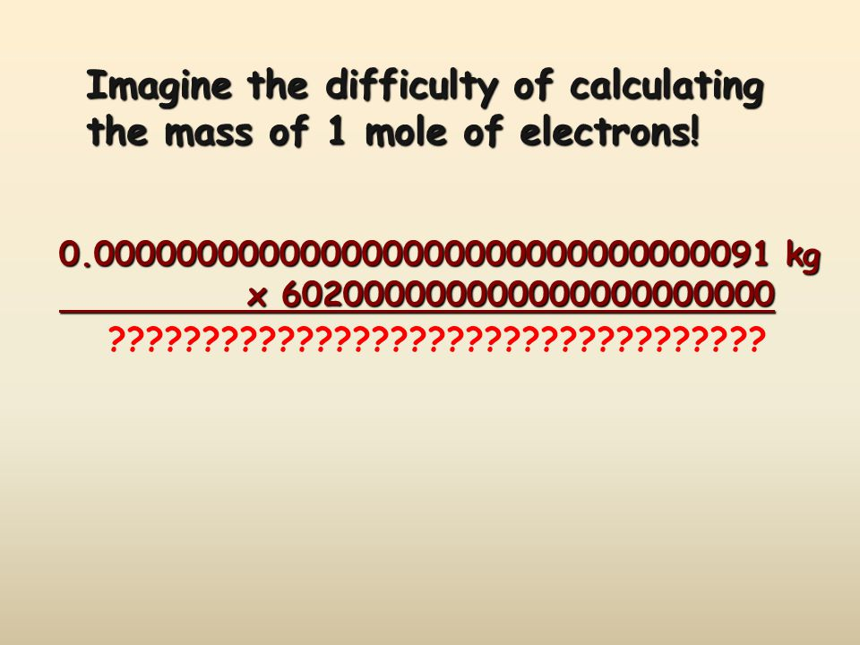 Imagine the difficulty of calculating the mass of 1 mole of electrons.