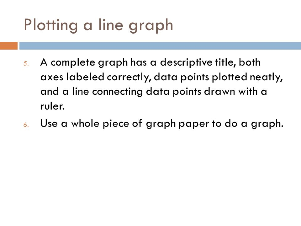 Plotting a line graph 5. A complete graph has a descriptive title, both axes labeled correctly, data points plotted neatly, and a line connecting data
