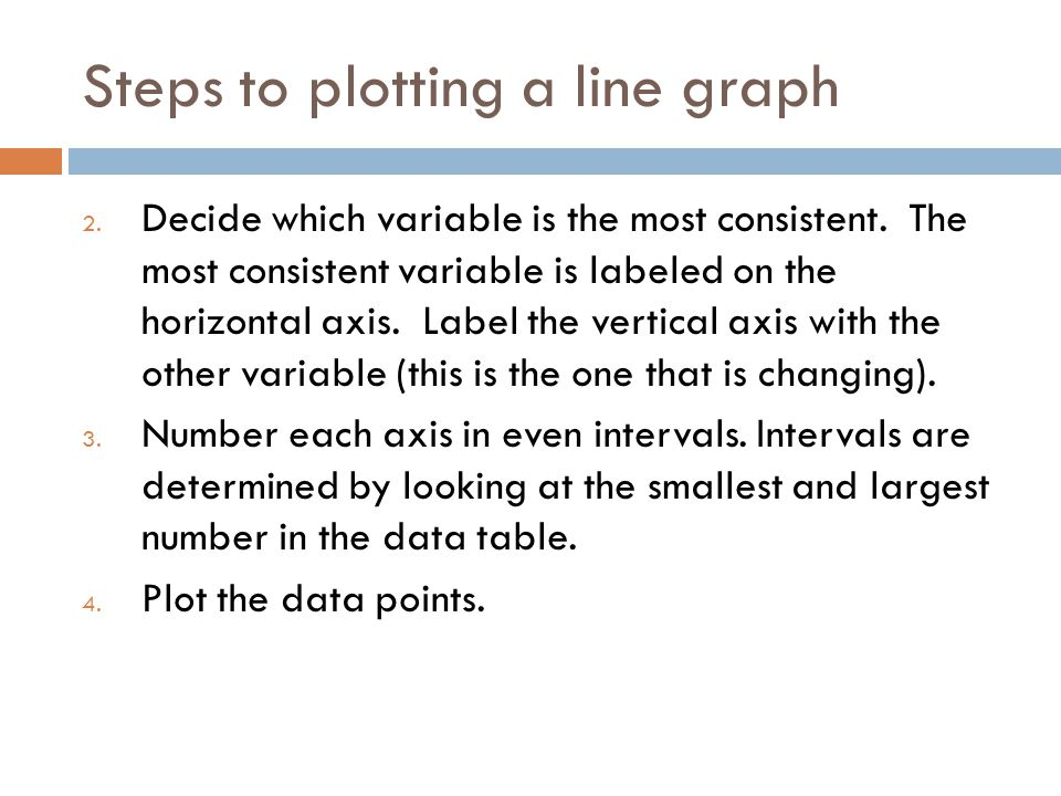Steps to plotting a line graph 2. Decide which variable is the most consistent. The most consistent variable is labeled on the horizontal axis. Label
