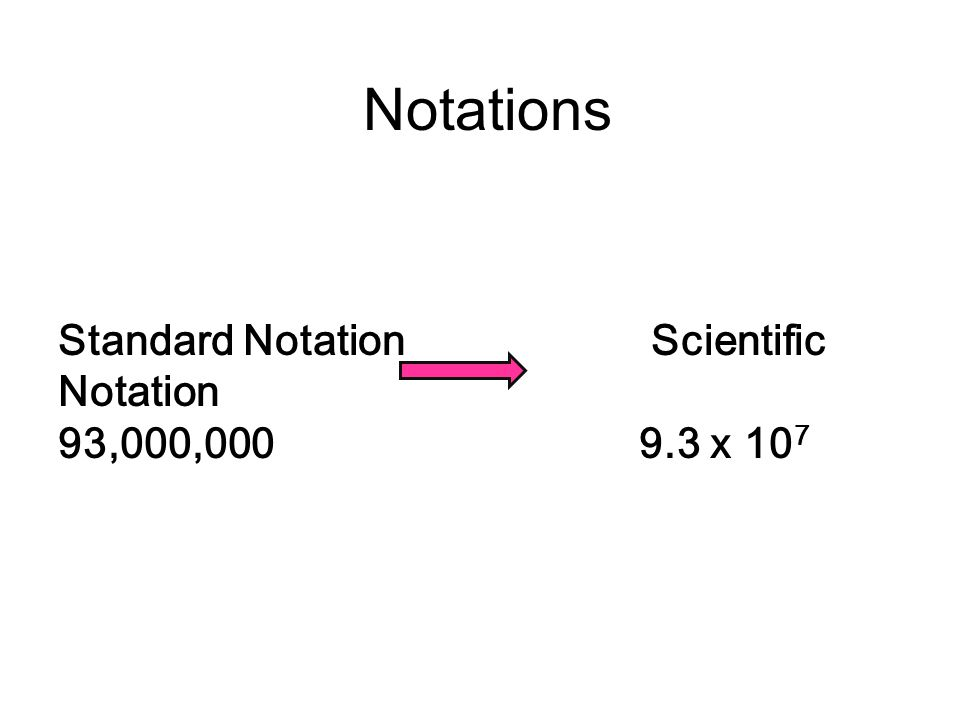 Notations Standard Notation Scientific Notation 93,000,000 9.3 x 10 7