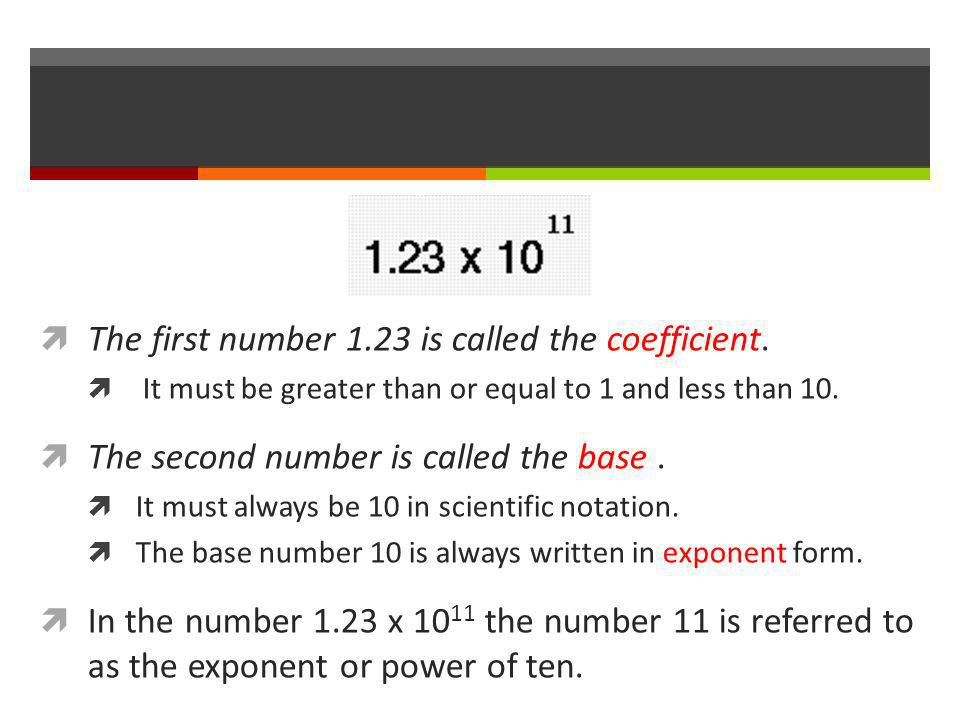  The first number 1.23 is called the coefficient.  It must be greater than or equal to 1 and less than 10.  The second number is called the base. 