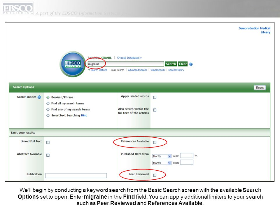 We'll begin by conducting a keyword search from the Basic Search screen with the available Search Options set to open.