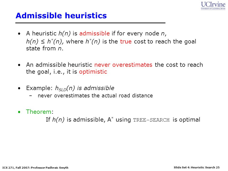 Slide Set 4: Heuristic Search 25 ICS 271, Fall 2007: Professor Padhraic Smyth Admissible heuristics A heuristic h(n) is admissible if for every node n