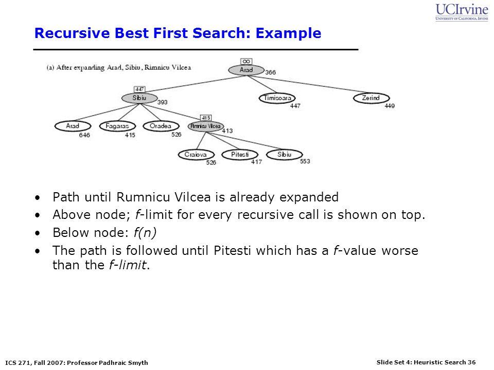 Slide Set 4: Heuristic Search 36 ICS 271, Fall 2007: Professor Padhraic Smyth Recursive Best First Search: Example Path until Rumnicu Vilcea is alread