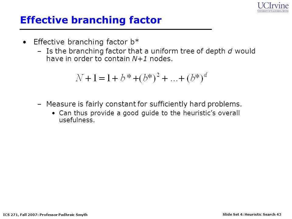 Slide Set 4: Heuristic Search 43 ICS 271, Fall 2007: Professor Padhraic Smyth Effective branching factor Effective branching factor b* –Is the branchi