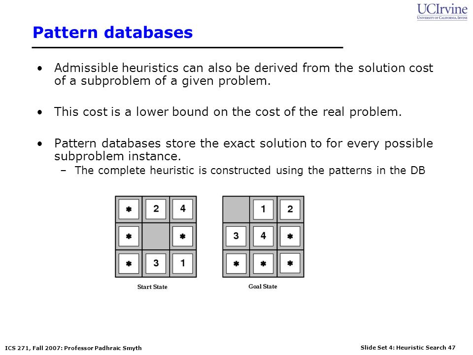 Slide Set 4: Heuristic Search 47 ICS 271, Fall 2007: Professor Padhraic Smyth Pattern databases Admissible heuristics can also be derived from the sol