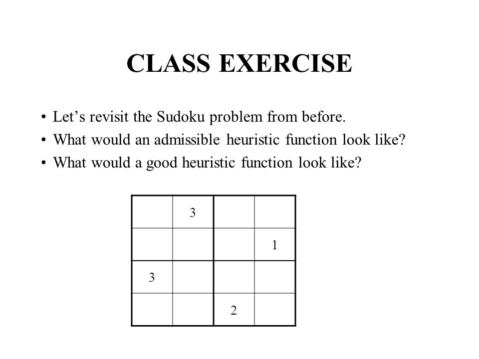 CLASS EXERCISE Let's revisit the Sudoku problem from before.