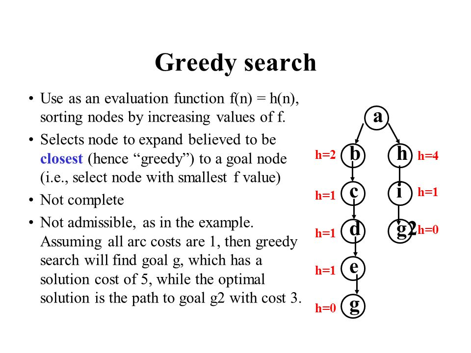 Greedy search Use as an evaluation function f(n) = h(n), sorting nodes by increasing values of f.