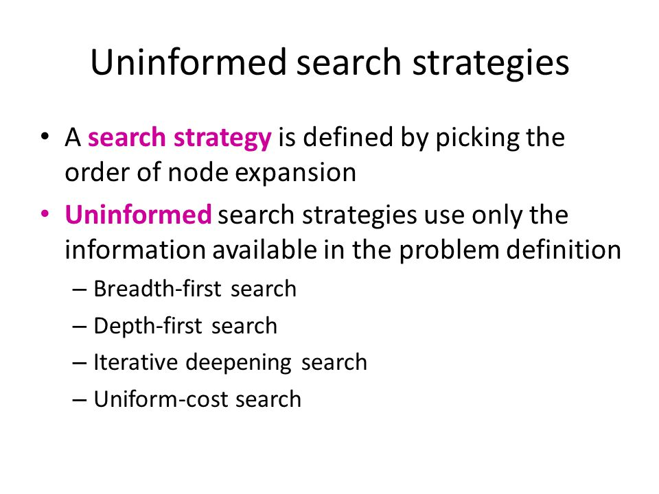Breadth-first search Expand shallowest unexpanded node Implementation: frontier is a FIFO queue Example state space graph for a tiny search problem Example from P.