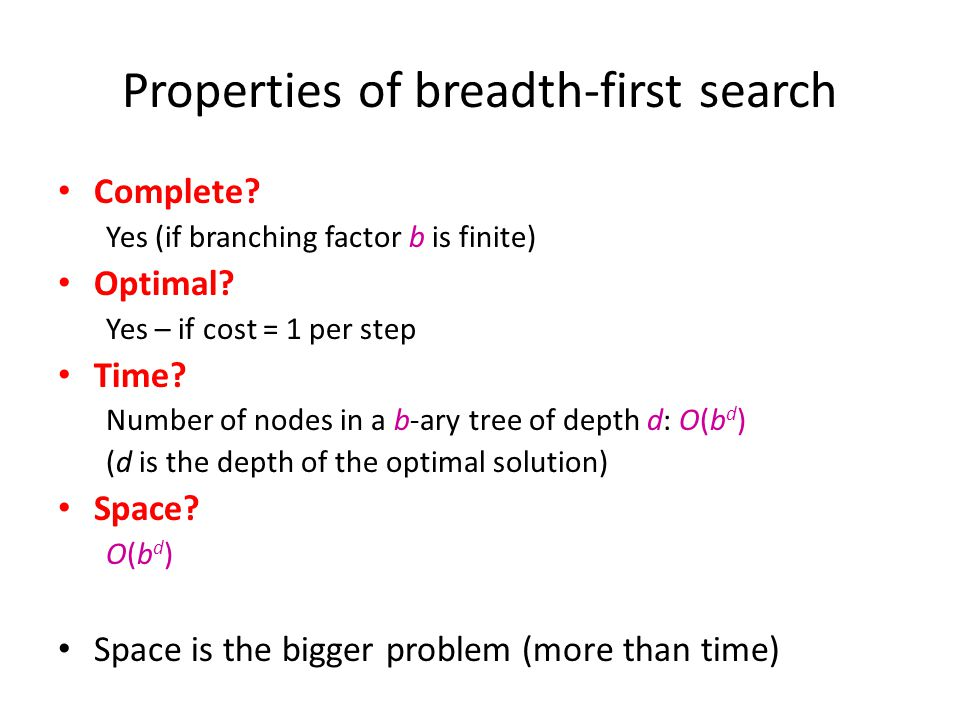 Properties of breadth-first search Complete? Yes (if branching factor b is finite) Optimal? Yes – if cost = 1 per step Time? Number of nodes in a b-ar