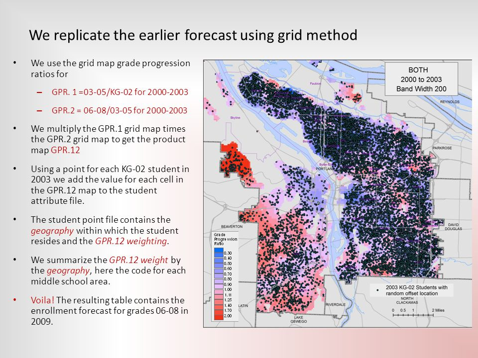 We replicate the earlier forecast using grid method We use the grid map grade progression ratios for – GPR. 1 =03-05/KG-02 for 2000-2003 – GPR.2 = 06-