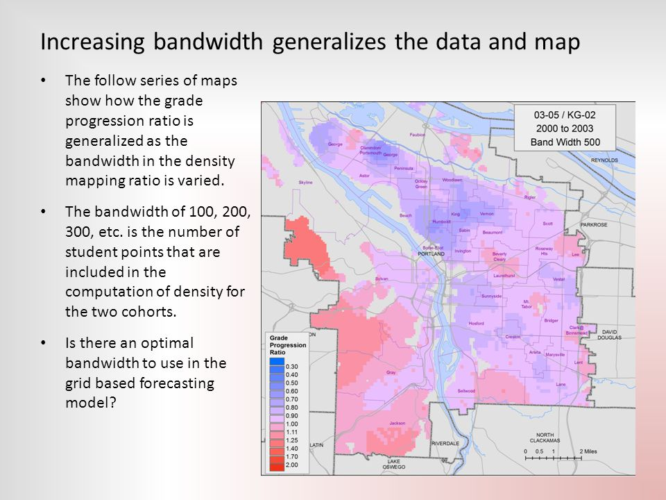 Increasing bandwidth generalizes the data and map The follow series of maps show how the grade progression ratio is generalized as the bandwidth in th
