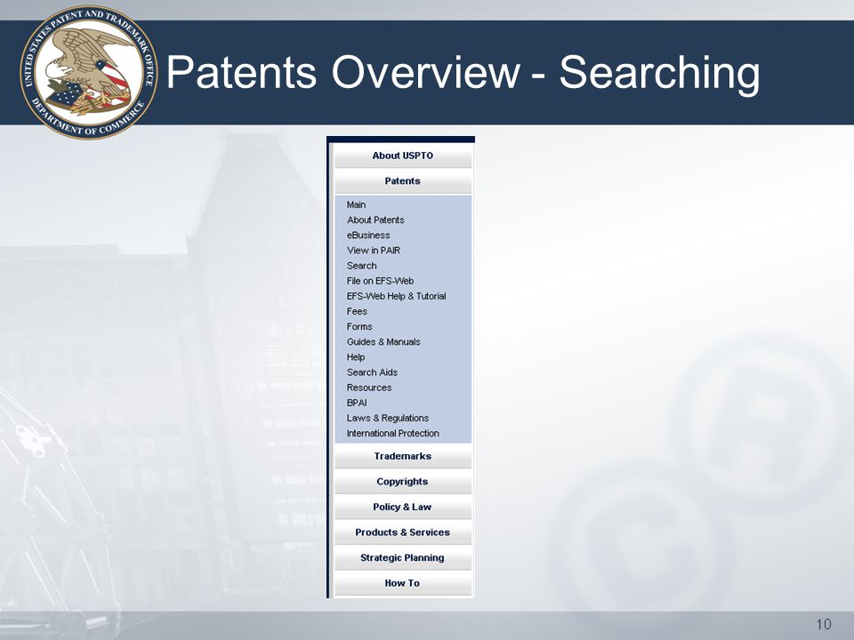 10 Patents Overview - Searching