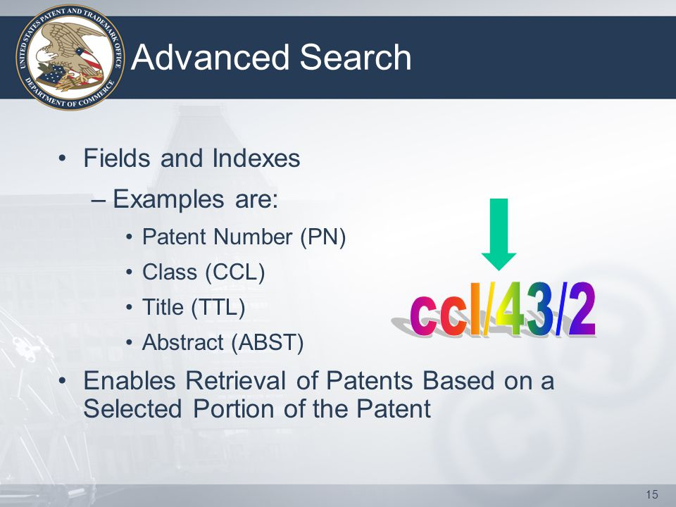 15 Advanced Search Fields and Indexes –Examples are: Patent Number (PN) Class (CCL) Title (TTL) Abstract (ABST) Enables Retrieval of Patents Based on