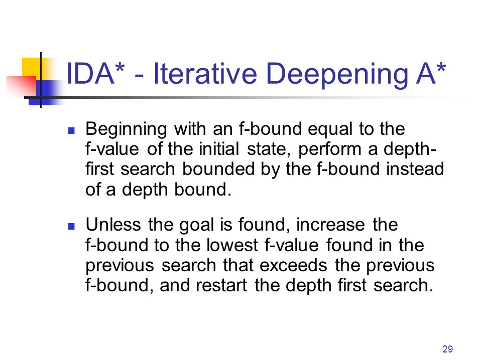 29 IDA* - Iterative Deepening A* Beginning with an f-bound equal to the f-value of the initial state, perform a depth- first search bounded by the f-b