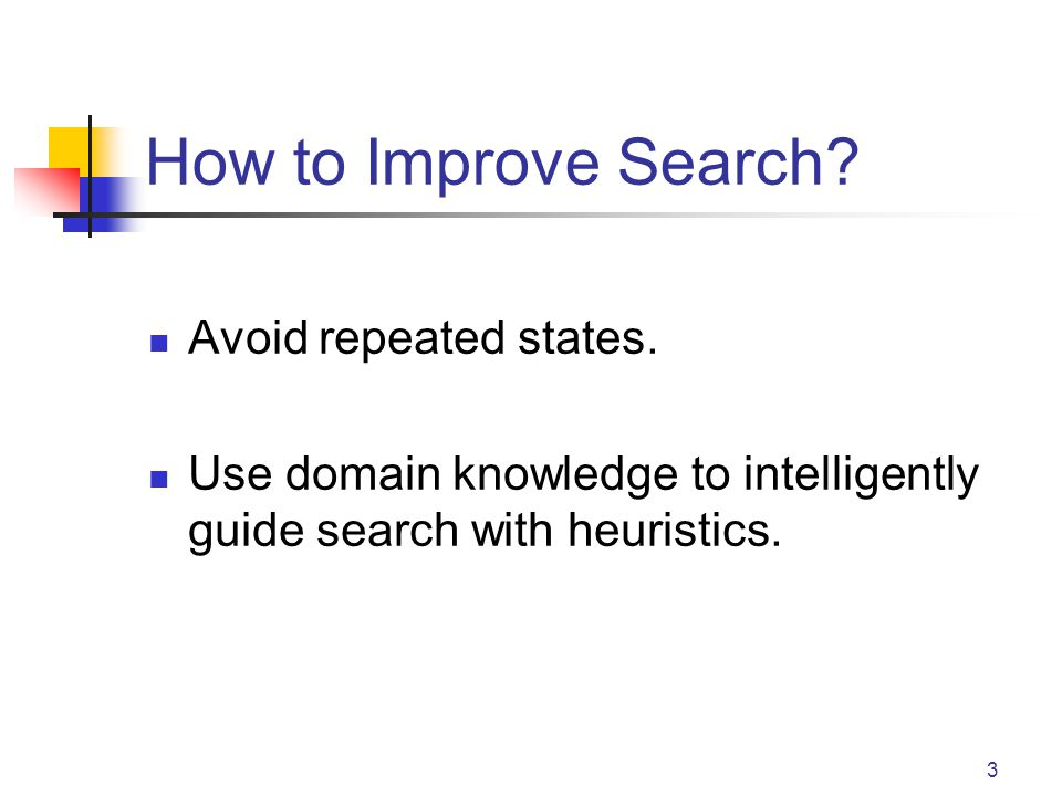 3 How to Improve Search? Avoid repeated states. Use domain knowledge to intelligently guide search with heuristics.
