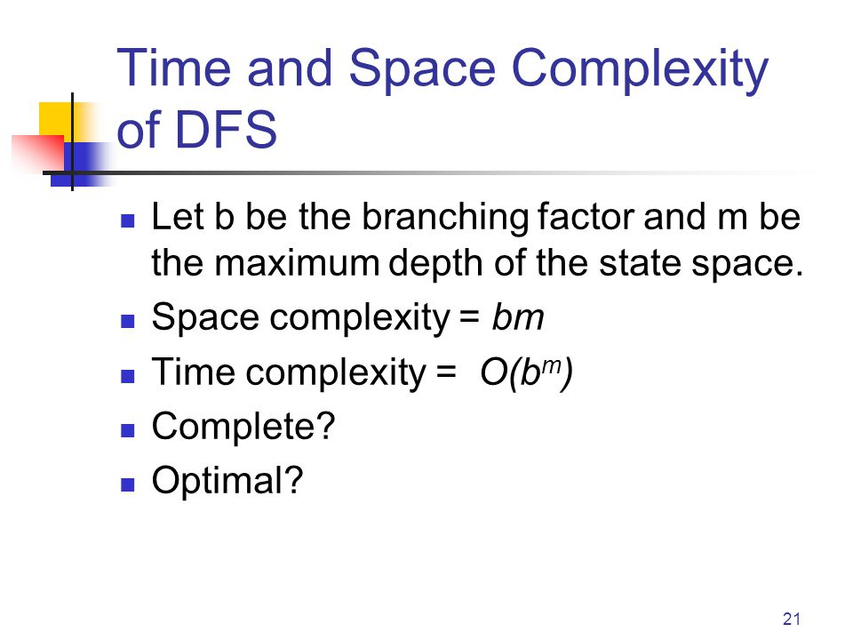 21 Time and Space Complexity of DFS Let b be the branching factor and m be the maximum depth of the state space.