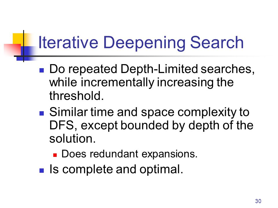 30 Iterative Deepening Search Do repeated Depth-Limited searches, while incrementally increasing the threshold.
