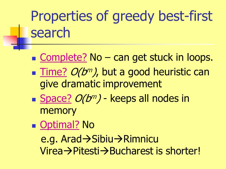Properties of greedy best-first search Complete? No – can get stuck in loops. Time? O(b m ), but a good heuristic can give dramatic improvement Space?