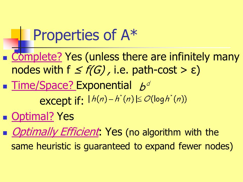 Properties of A* Complete? Yes (unless there are infinitely many nodes with f ≤ f(G), i.e. path-cost > ε) Time/Space? Exponential except if: Optimal?