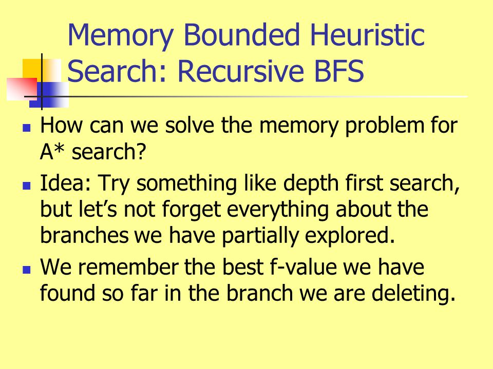 Memory Bounded Heuristic Search: Recursive BFS How can we solve the memory problem for A* search? Idea: Try something like depth first search, but let
