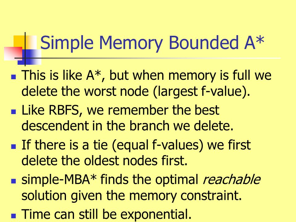 Simple Memory Bounded A* This is like A*, but when memory is full we delete the worst node (largest f-value). Like RBFS, we remember the best descende