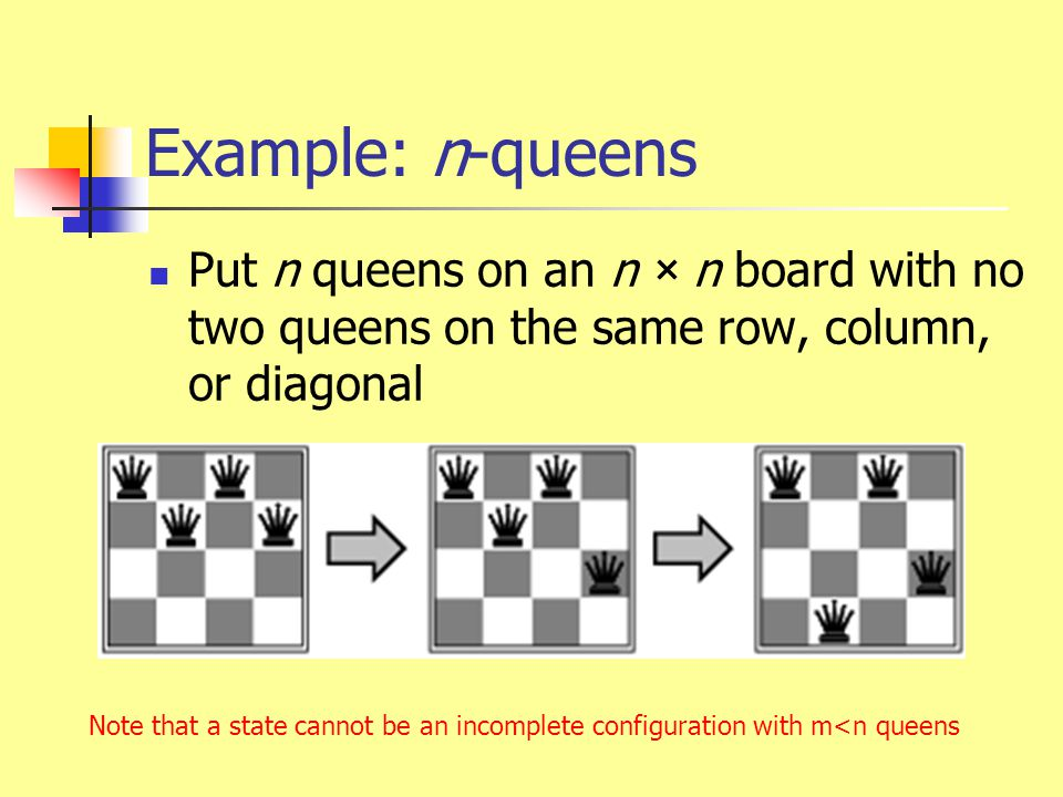 Example: n-queens Put n queens on an n × n board with no two queens on the same row, column, or diagonal Note that a state cannot be an incomplete con