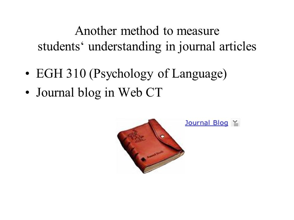 Another method to measure students' understanding in journal articles EGH 310 (Psychology of Language) Journal blog in Web CT