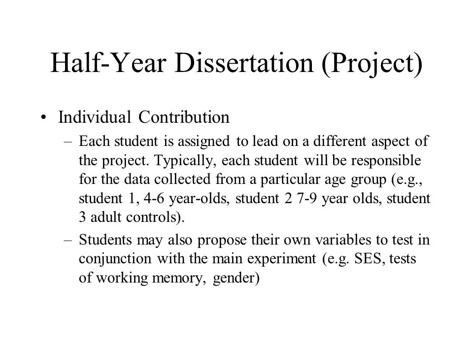 Half-Year Dissertation (Project) Individual Contribution –Each student is assigned to lead on a different aspect of the project.