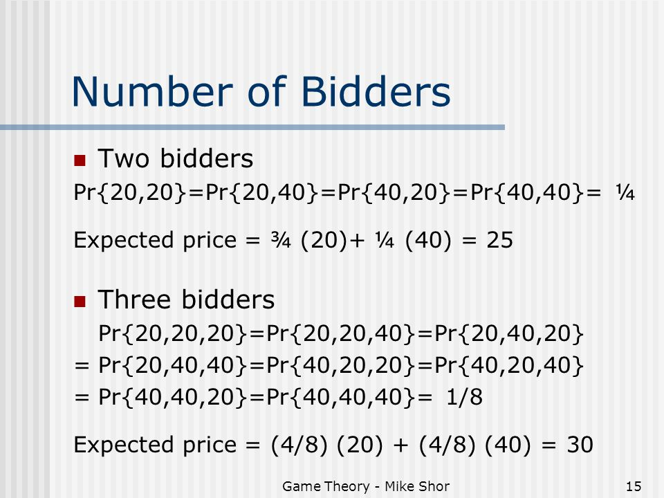 Game Theory - Mike Shor15 Number of Bidders Two bidders Pr{20,20}=Pr{20,40}=Pr{40,20}=Pr{40,40}= ¼ Expected price = ¾ (20)+ ¼ (40) = 25 Three bidders Pr{20,20,20}=Pr{20,20,40}=Pr{20,40,20} =Pr{20,40,40}=Pr{40,20,20}=Pr{40,20,40} =Pr{40,40,20}=Pr{40,40,40}= 1/8 Expected price = (4/8) (20) + (4/8) (40) = 30