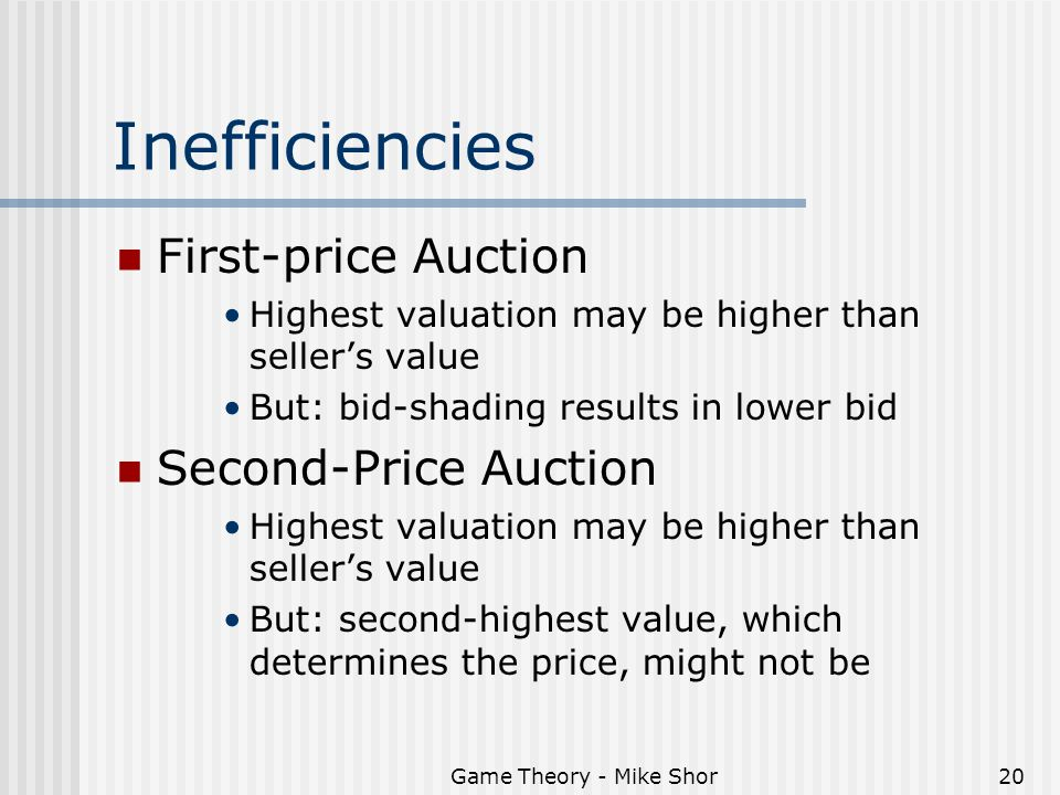 Game Theory - Mike Shor20 Inefficiencies First-price Auction Highest valuation may be higher than seller's value But: bid-shading results in lower bid Second-Price Auction Highest valuation may be higher than seller's value But: second-highest value, which determines the price, might not be