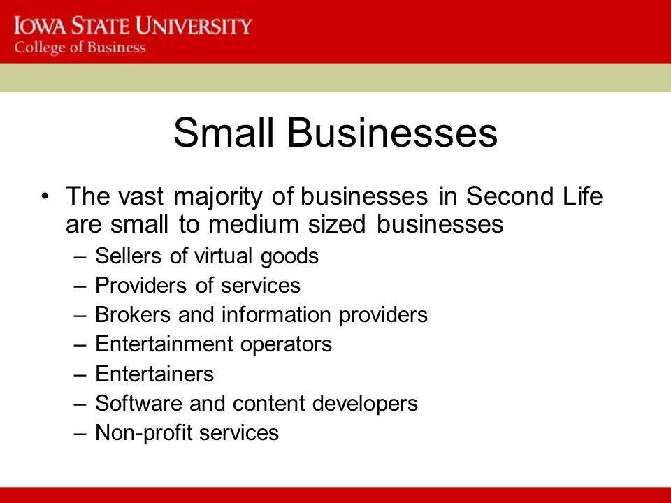 Small Businesses The vast majority of businesses in Second Life are small to medium sized businesses –Sellers of virtual goods –Providers of services –Brokers and information providers –Entertainment operators –Entertainers –Software and content developers –Non-profit services