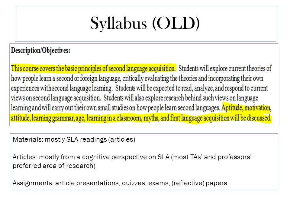 Syllabus (OLD) Materials: mostly SLA readings (articles) Articles: mostly from a cognitive perspective on SLA (most TAs' and professors' preferred area of research) Assignments: article presentations, quizzes, exams, (reflective) papers
