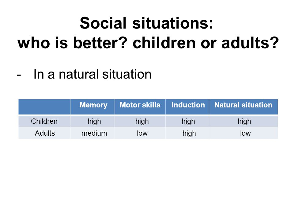 Social situations: who is better. children or adults.