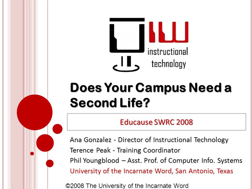 ©2008 The University of the Incarnate Word Does Your Campus Need a Second Life.