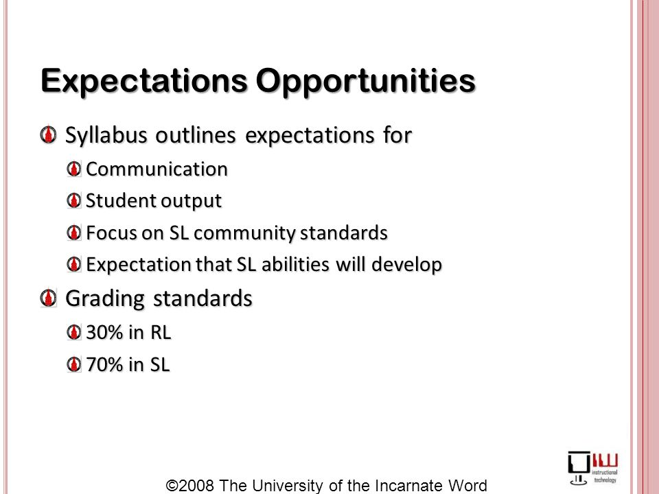©2008 The University of the Incarnate Word Expectations Opportunities Syllabus outlines expectations for Syllabus outlines expectations forCommunication Student output Focus on SL community standards Expectation that SL abilities will develop Grading standards Grading standards 30% in RL 70% in SL