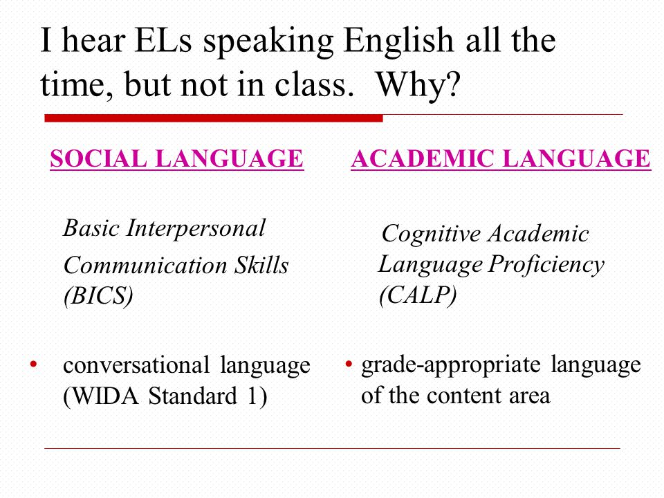I hear ELs speaking English all the time, but not in class.