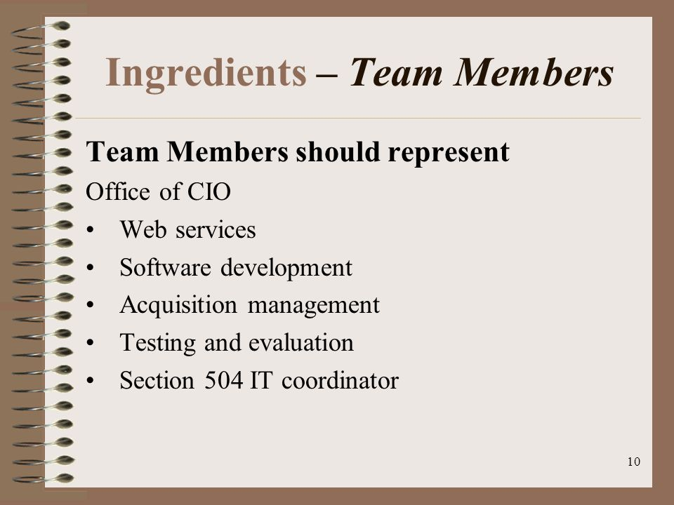 10 Ingredients – Team Members Team Members should represent Office of CIO Web services Software development Acquisition management Testing and evaluation Section 504 IT coordinator