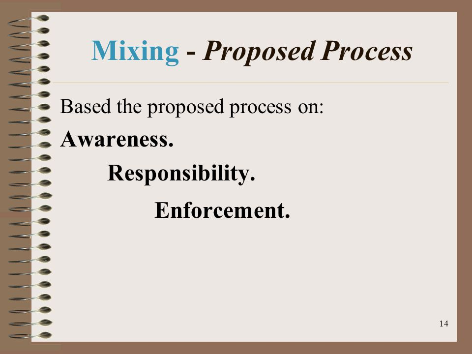 14 Mixing - Proposed Process Based the proposed process on: Awareness. Responsibility. Enforcement.