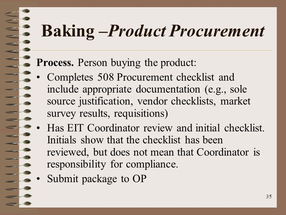 35 Baking –Product Procurement Process.