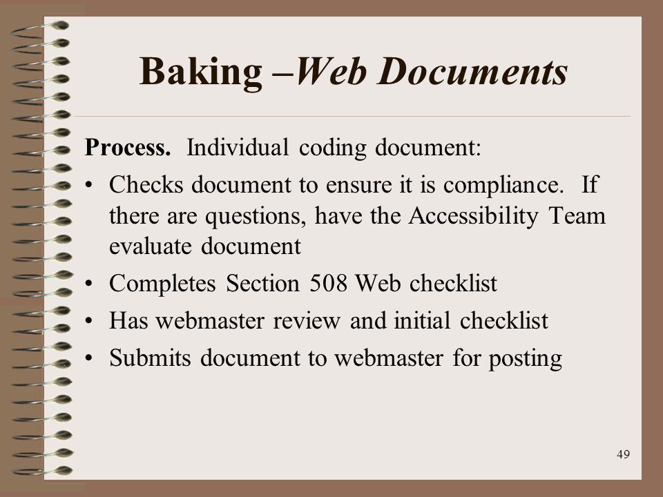 49 Baking –Web Documents Process.