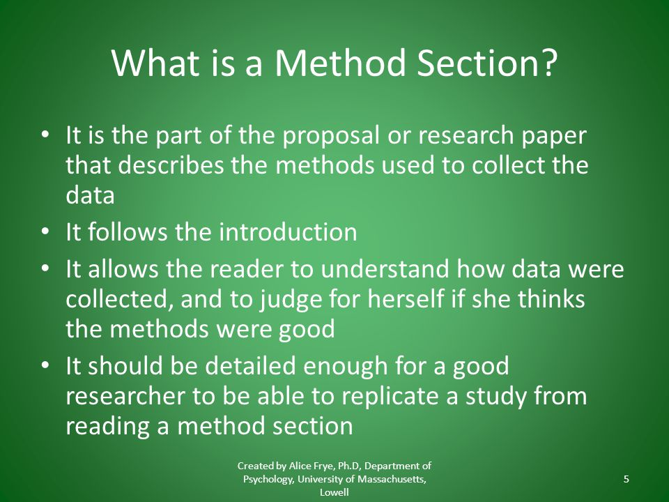 methods section research paper