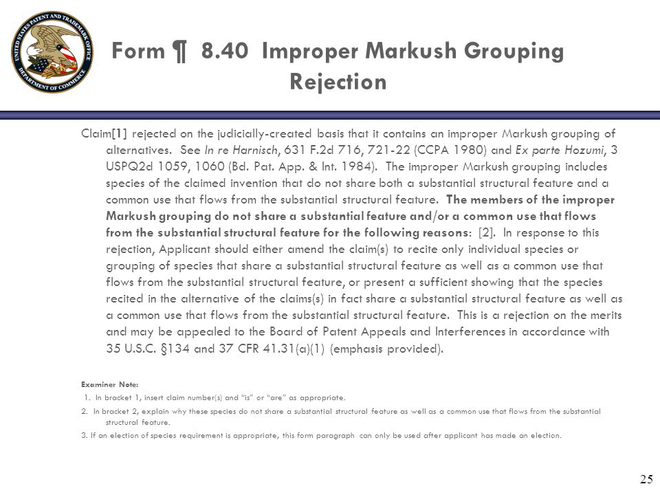Form ¶ 8.40 Improper Markush Grouping Rejection Claim[1] rejected on the judicially-created basis that it contains an improper Markush grouping of alt
