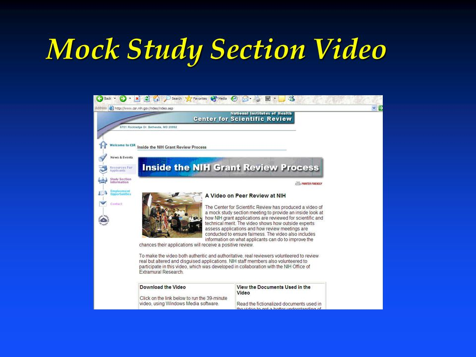 Mock Study Section Video